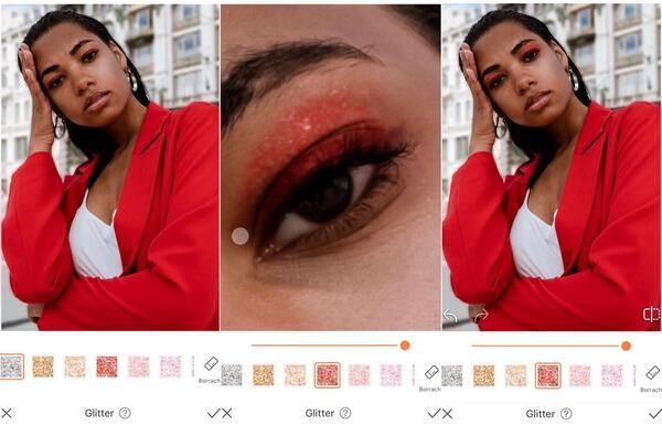 Foto de uma mulher negra com um blazer vermelho e a mão no rosto, sendo editada pelo AirBrush com a ferramenta Glitter