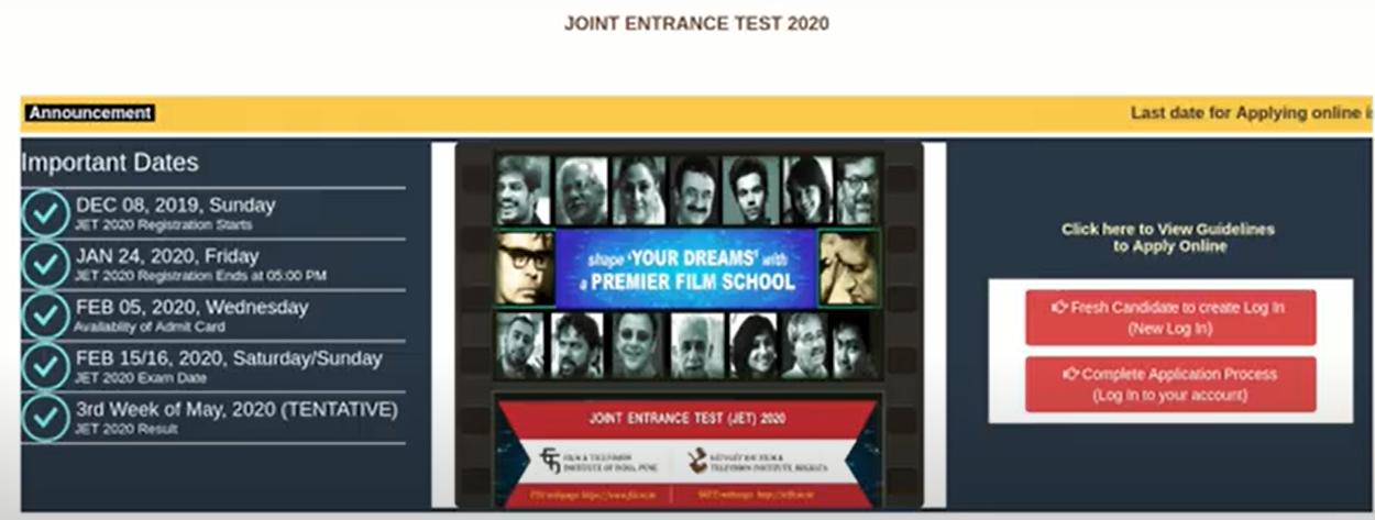 FTII JET Application Form 2021
