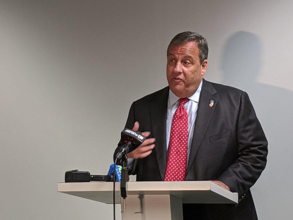 Former New Jersey Gov. Chris Christie at the Institute of Public Policy lecture, held at the Seton Hall Law School in Newark on Sept. 26, 2019.