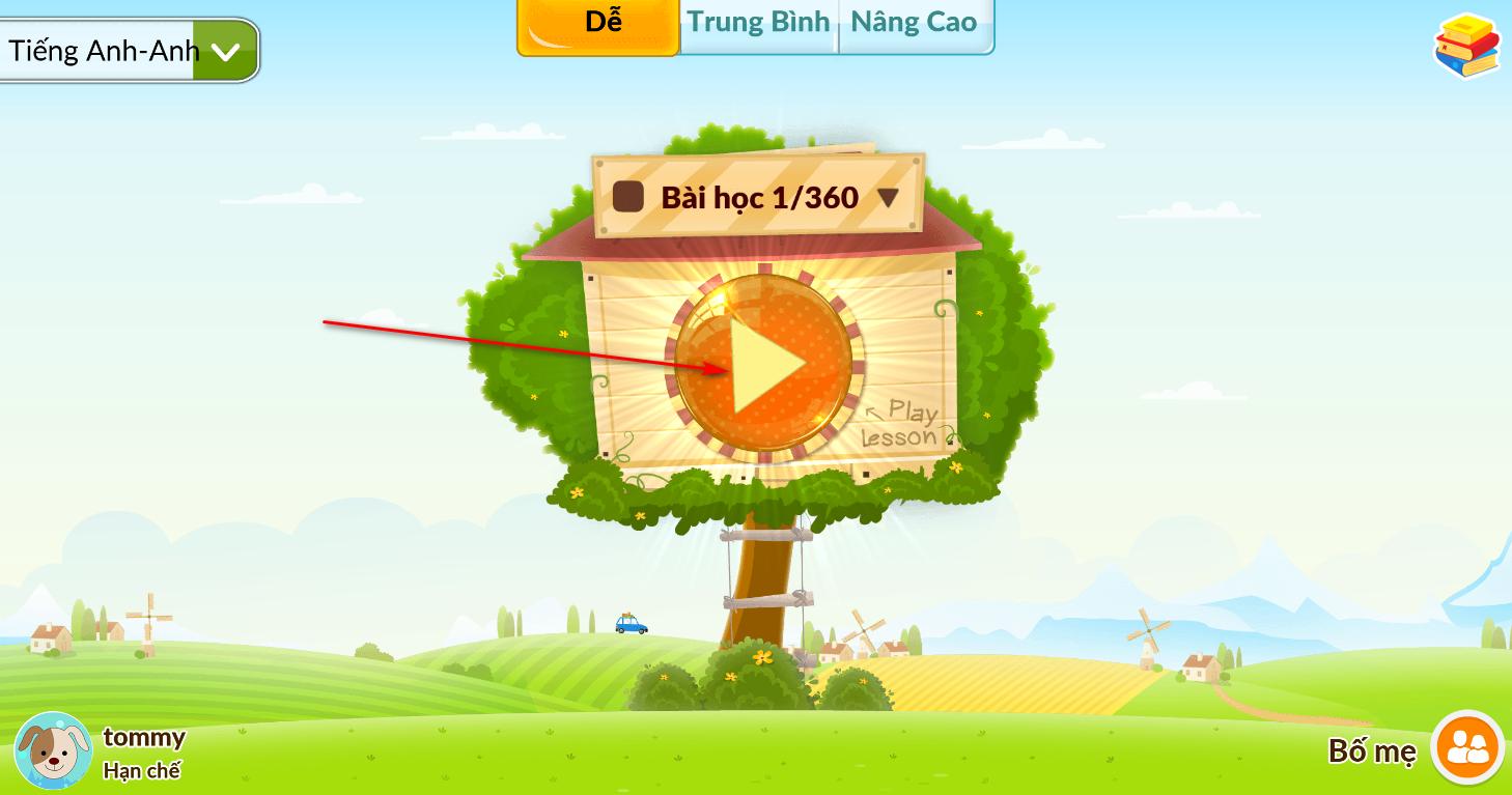 nút Play trong phần mềm monkey junior, phần mềm học tiếng anh