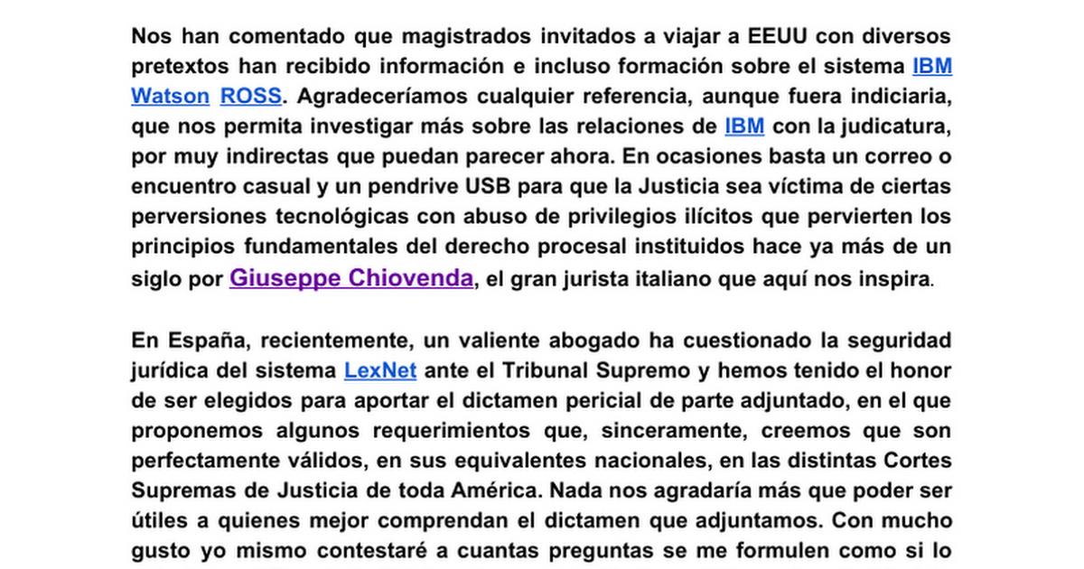 Corte Suprema de Justicia de la República Argentina csjn.gov.ar sobre IBM Watson ROSS y DICTAMEN a petición del abogado Dr. José Manuel López Iglesias para la SALA DE LO CONTENCIOSO-ADMINISTRATIVO DEL TRIBUNAL SUPREMO sobre LexNet