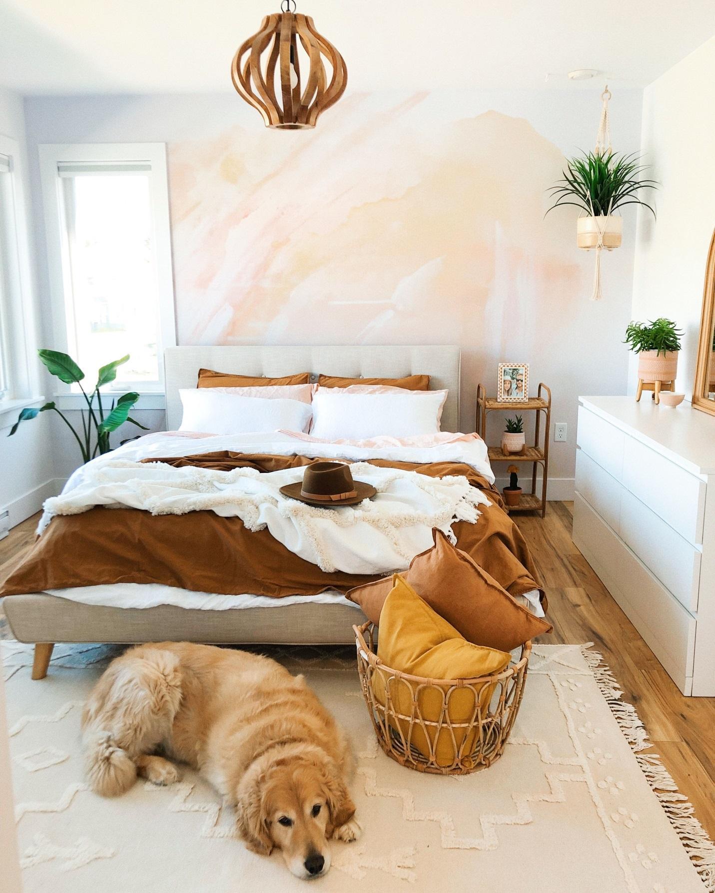 Phòng ngủ vintage với chăn màu nâu