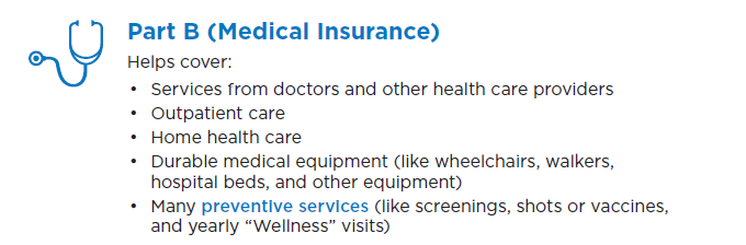 Part B medical insurance coverages