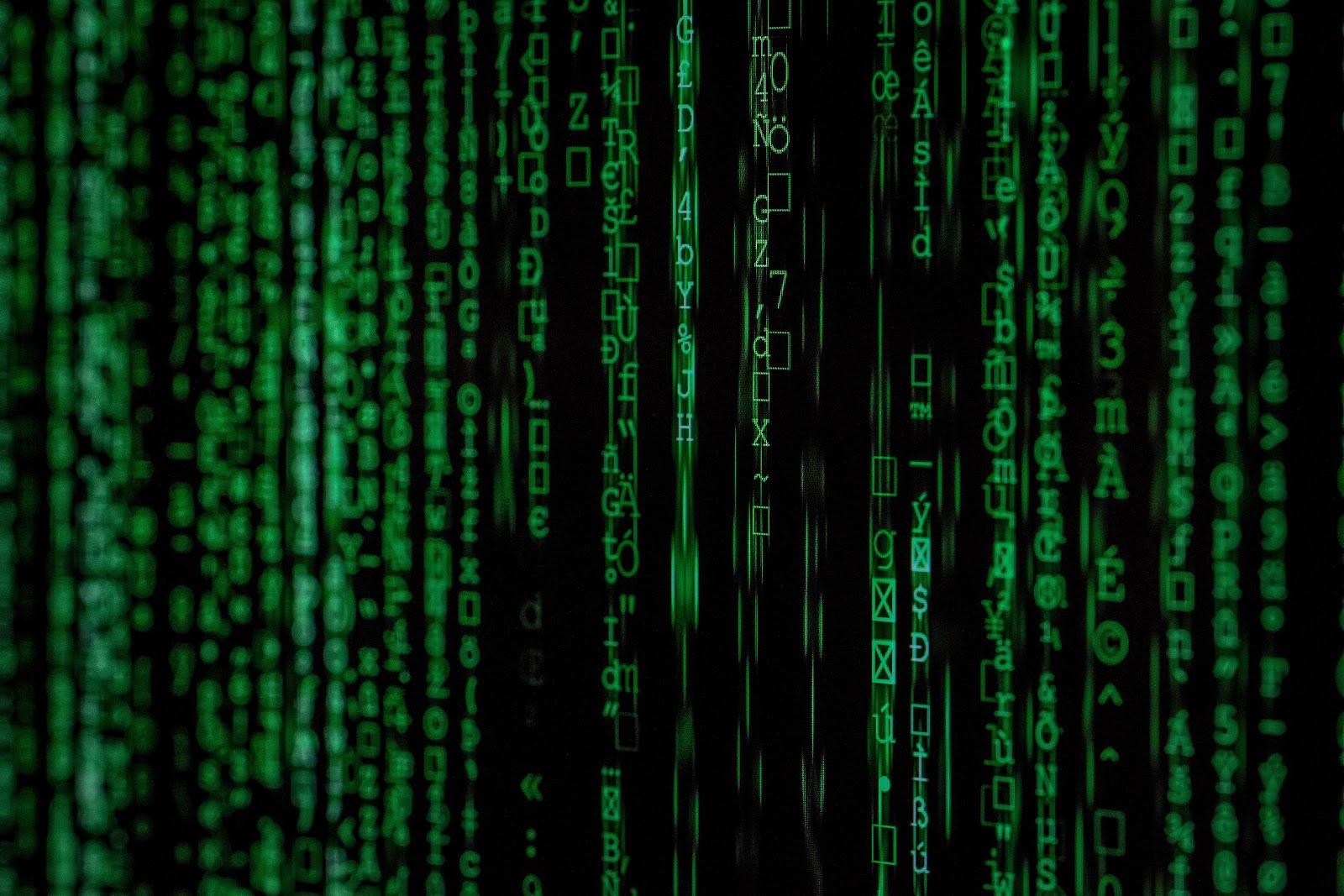 Green characters in a Matrix-like display