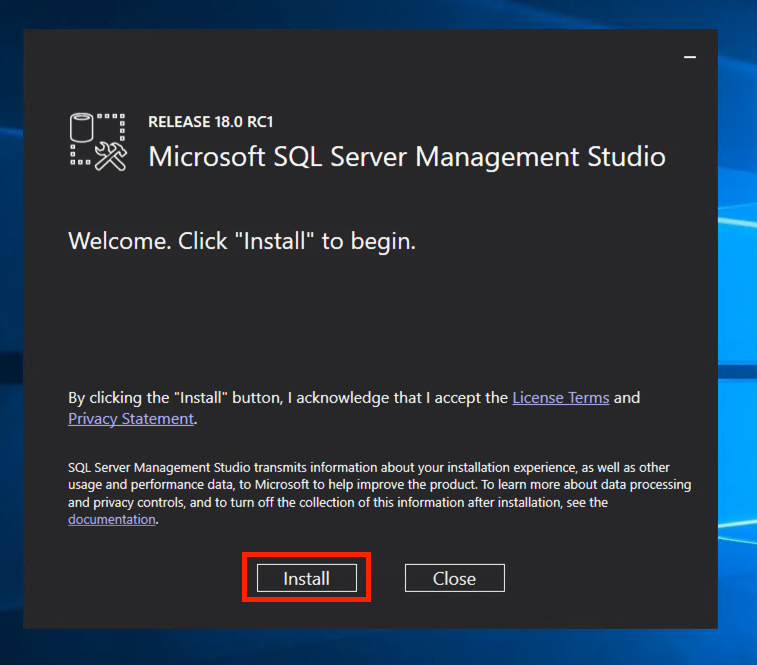 SQL Server Management Studio 2017 Installer.