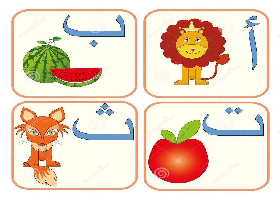 flashcards to learn the Arabic alphabet