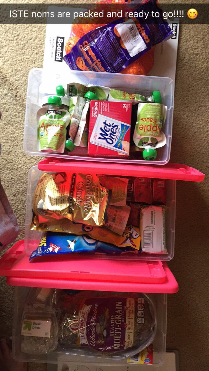 Snacks and peanut butter & jelly supplies ready for ISTE!