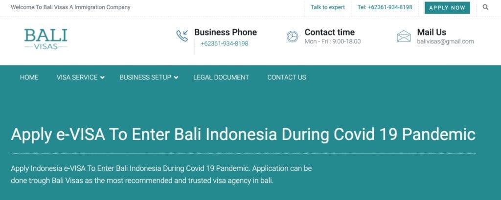 Bali e-visa information