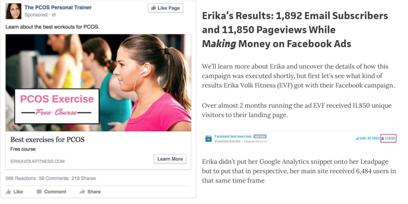 Image shows the results of Erika Volk's campaign, which generated 1,892 email subscribers in one month.