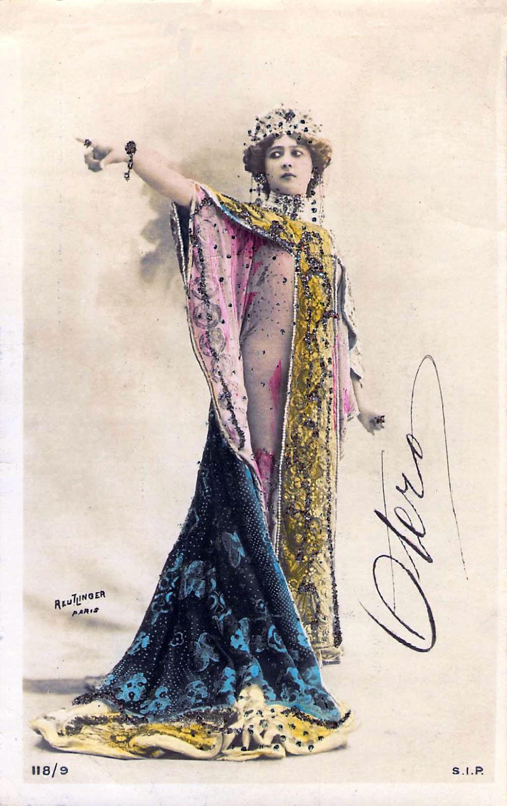 Carolina Otero signed hand-colored photo postcard