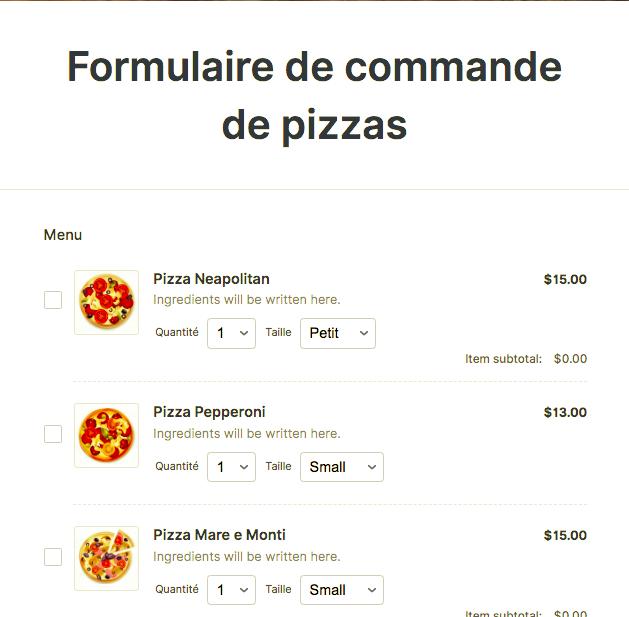 Bon de commande de Pizza
