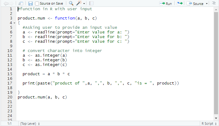 This image shows how to define a function with user input.