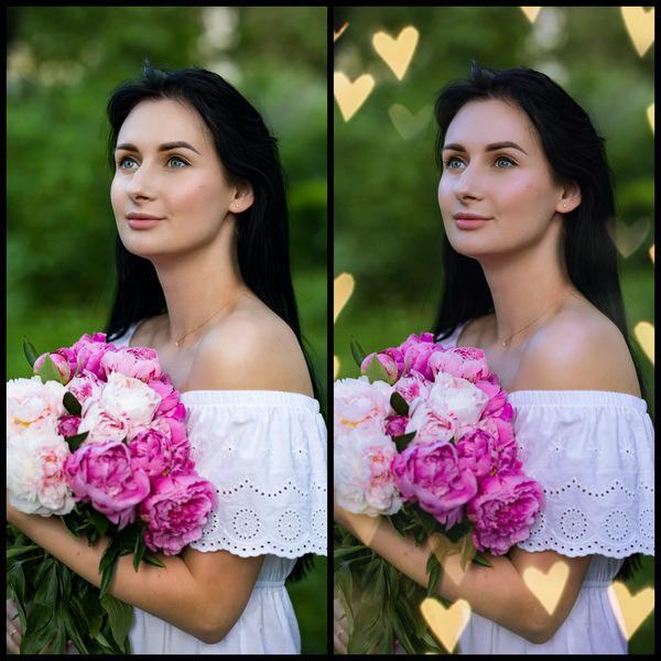 antes e depois da foto de uma mulher branca sendo que uma foi editada com a maquiagem Smitten do AirBrush