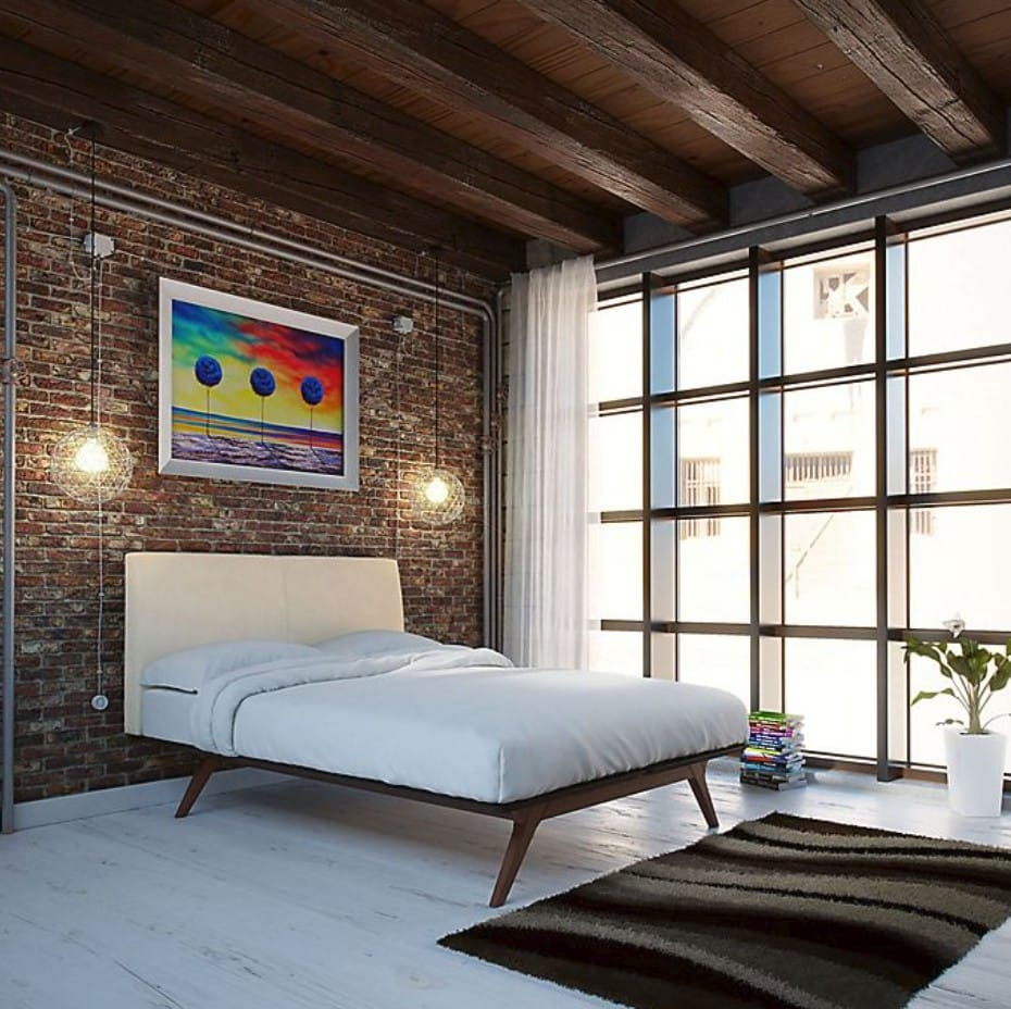 Combine Industrial Style and Mid Century Modern Bedroom