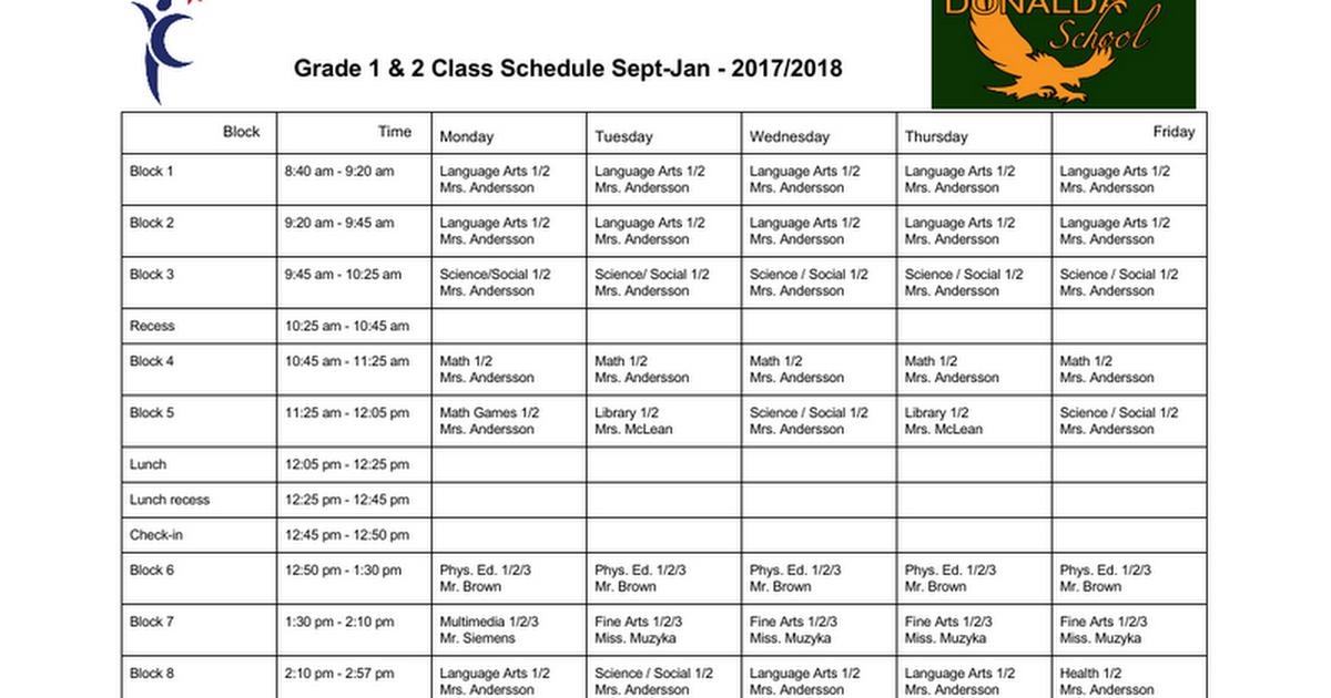 Thumbnail for Grade 1 & 2 Class Schedule 2017 2018