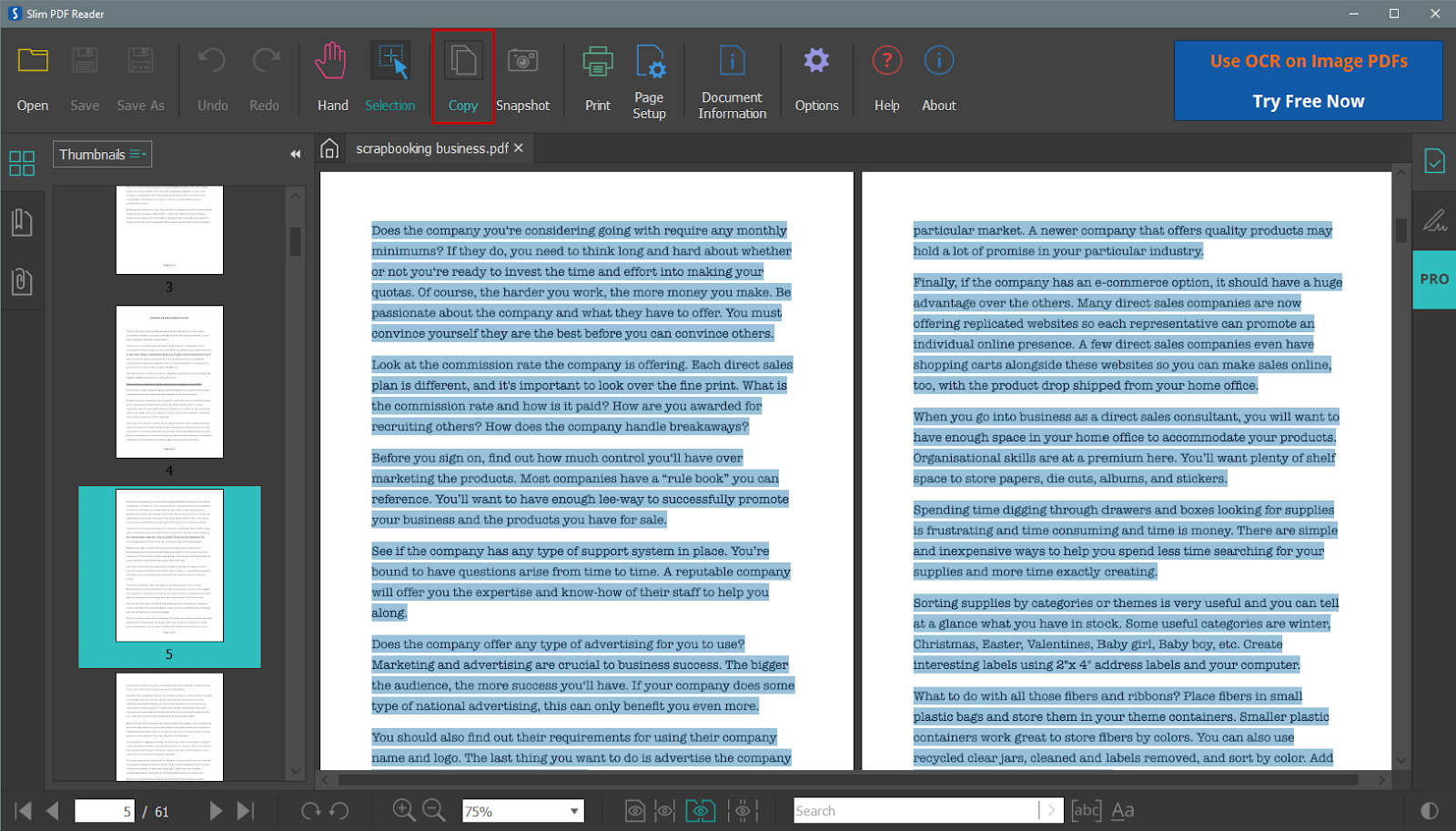 Copy all PDF text to clipboard in Slim PDF Reader