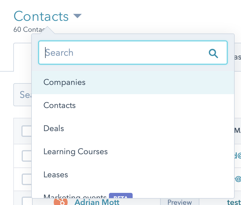 Drop-down menu of companies, contacts, deals, learning courses, and leases