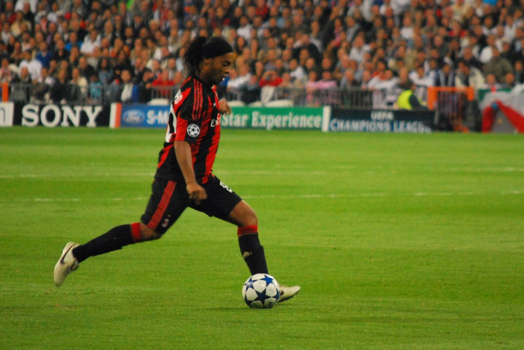 Ronaldinho striking the soccer ball