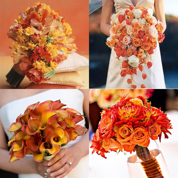 Оранжевые свадебные букеты