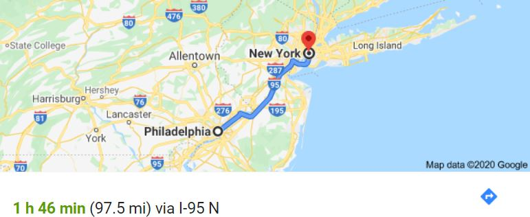 Philadelphia to NYC map
