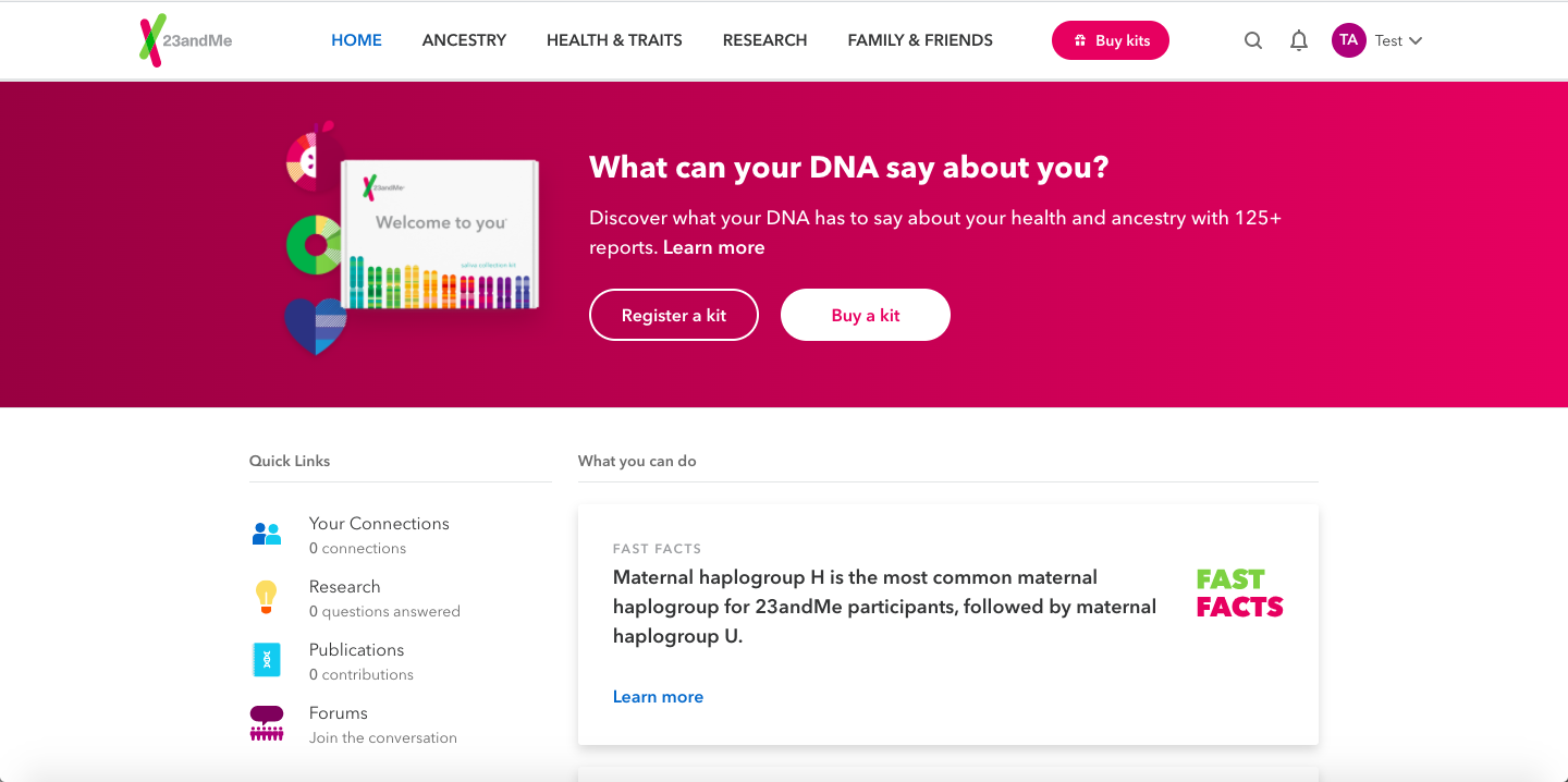 23andme results page