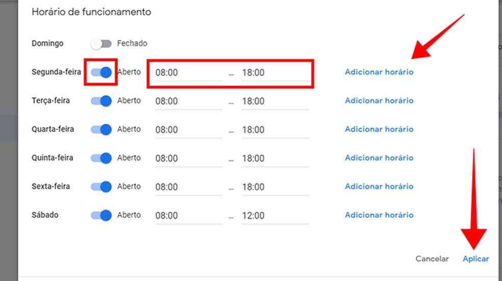 Mude os horários de atendimento da empresa no Google — Foto: Reprodução/Paulo Alves
