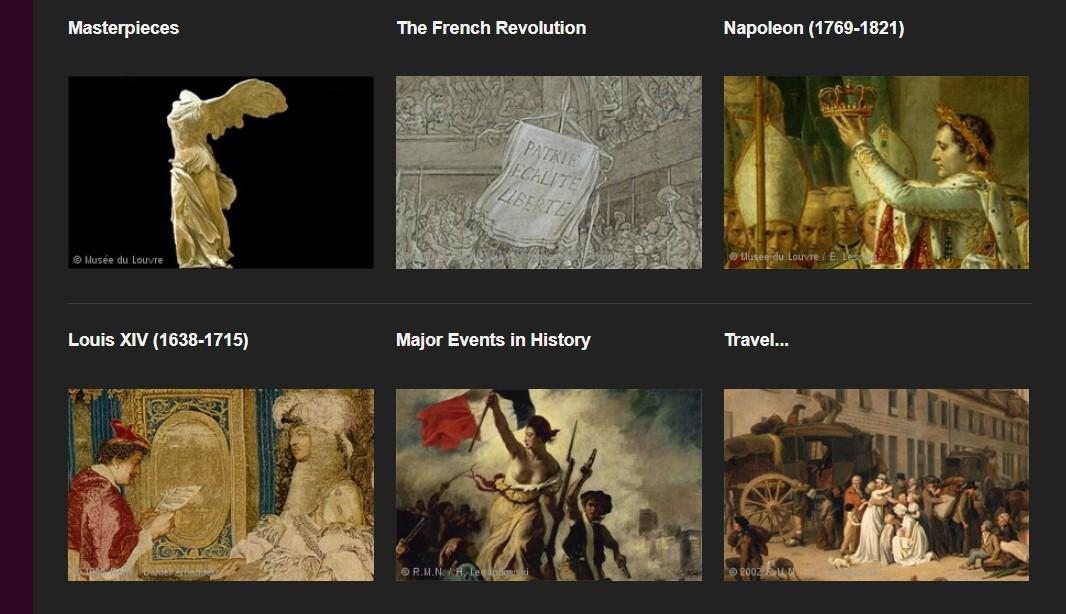 Featured themes available for browsing also include Major Events in History and Travel