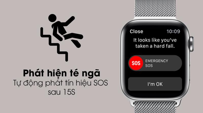 Apple Watch S5 LTE 40mm viền thép dây thép tự động phát hiện té ngã