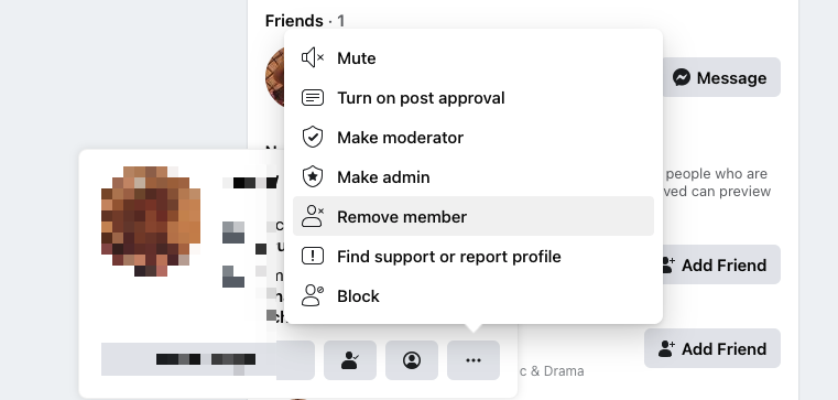 Screenshot of removing member from Facebook group