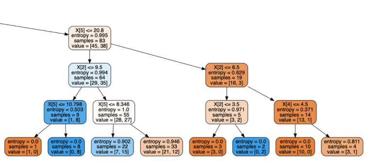 Decision tree machine learning algorithm example showing in the image