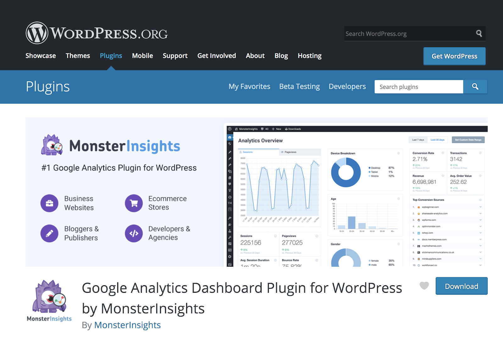 MonsterInsights Google Analytics plugin for wordpress