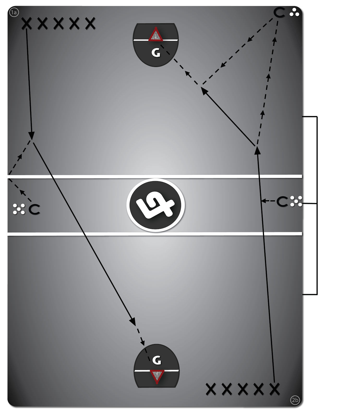 Lacrosse diagram drill #1 - Catching On-The-Run.