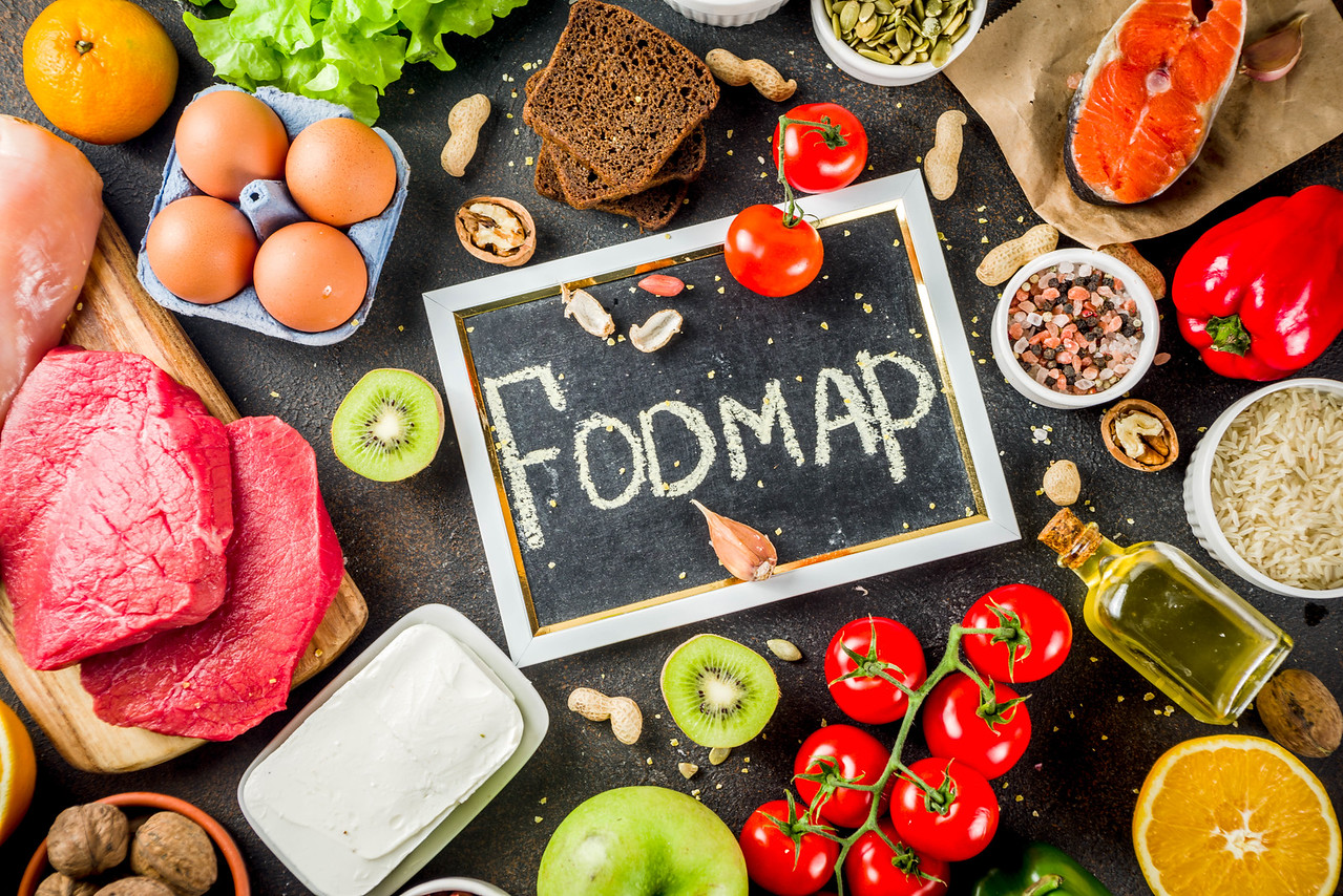 Low-FODMAP foods on a table
