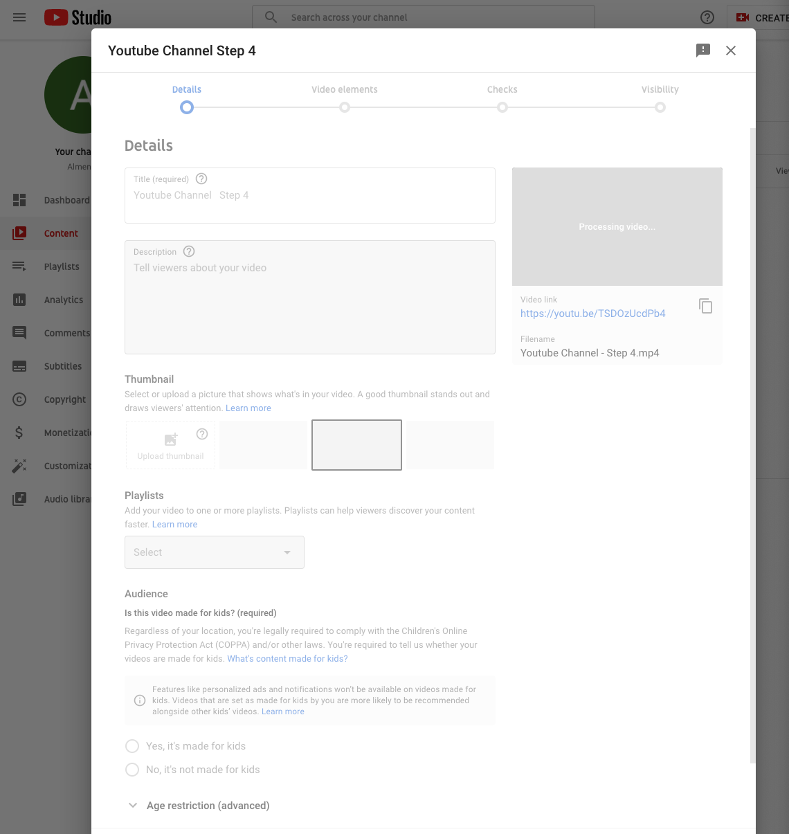 Publish a video to a YouTube channel