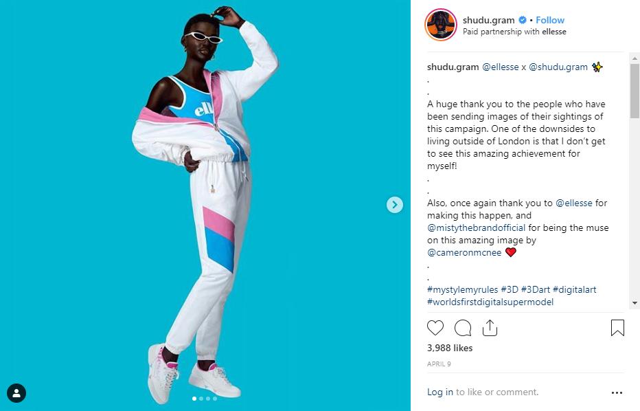 Shudu, the first digital supermodel whose Instagram is https://www.instagram.com/shudu.gram/
