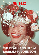 A banner for The Death and Life of Marsha P. Johnson