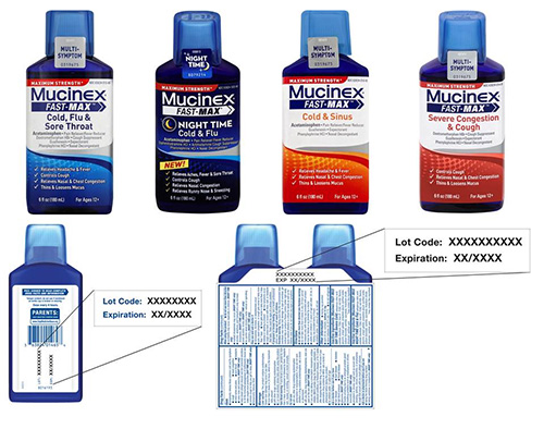 Mucinex Fast-Max product labels and lot code display