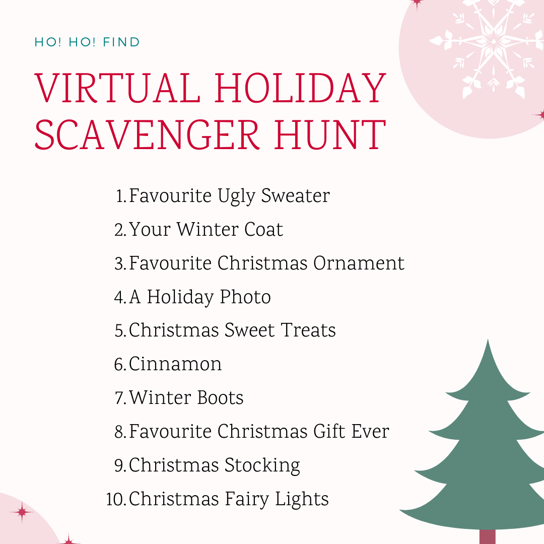 A list of items to hunt for during virtual holiday parties as a part of an online scavenger hunt.