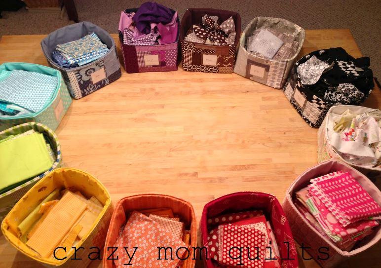 Scrap Fabrics in Bins