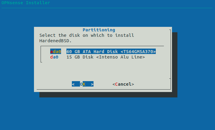 Select the disk to install the OPNsense