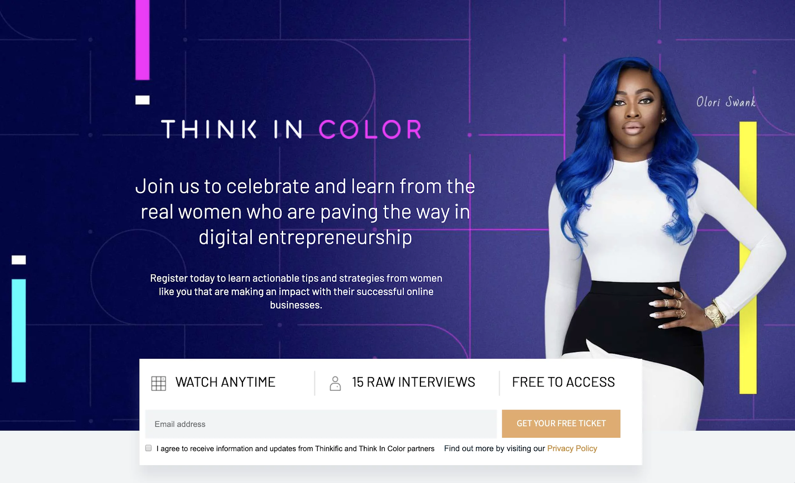 Screenshot of Think In Color Brand