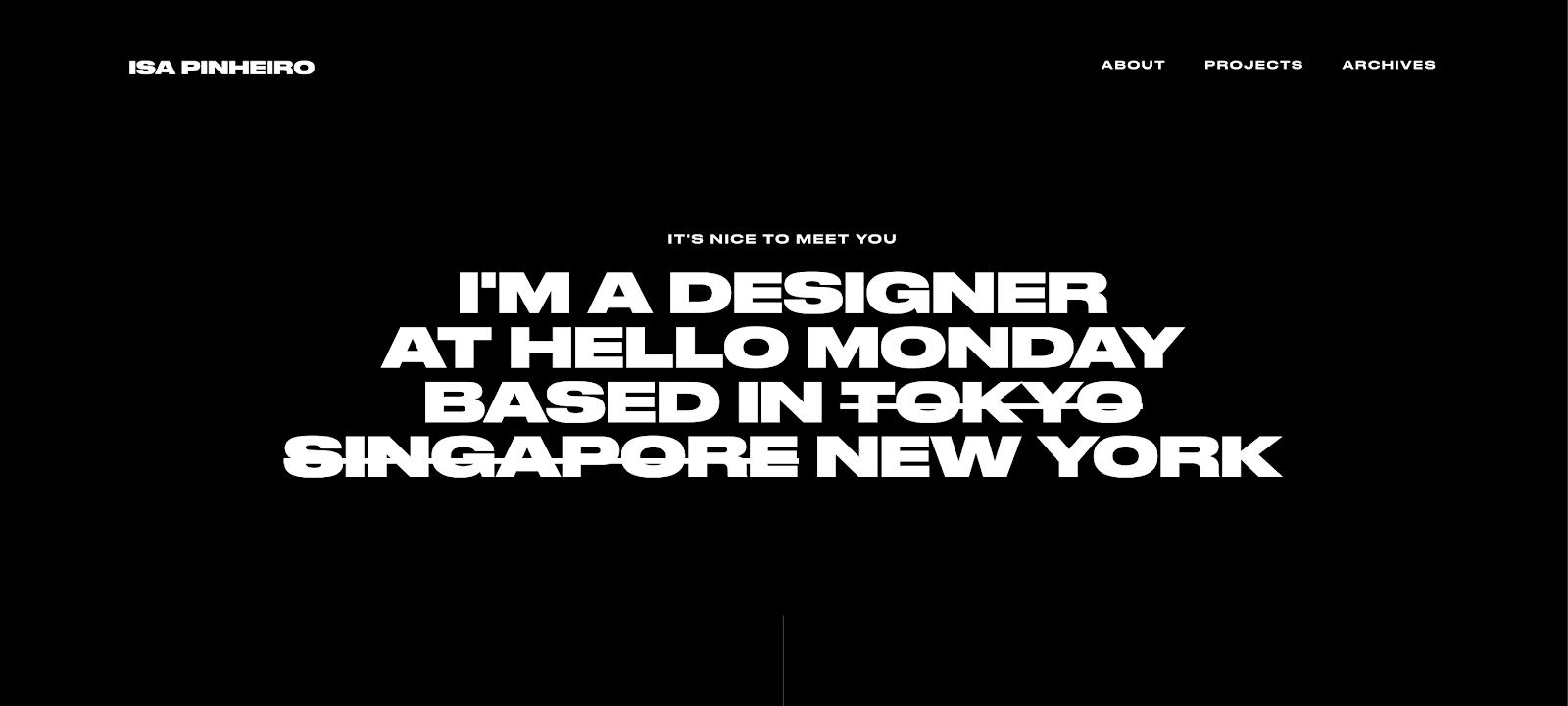 Screenshot of isapinheiro.com/about, Isa Pinheiro's UX Design portfolio.