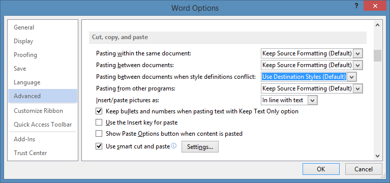Word Copy Paste Options