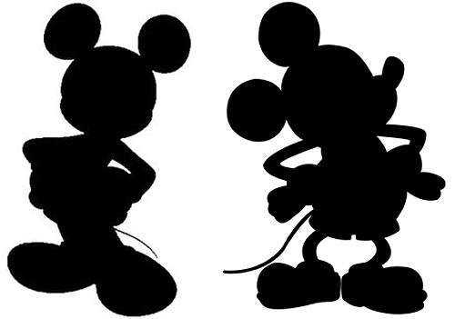 Everyone recognizes Mickey Mouse's silhouette, right? What's interesting is that the shape of his ears is maintained no matter at what angle his head is ...
