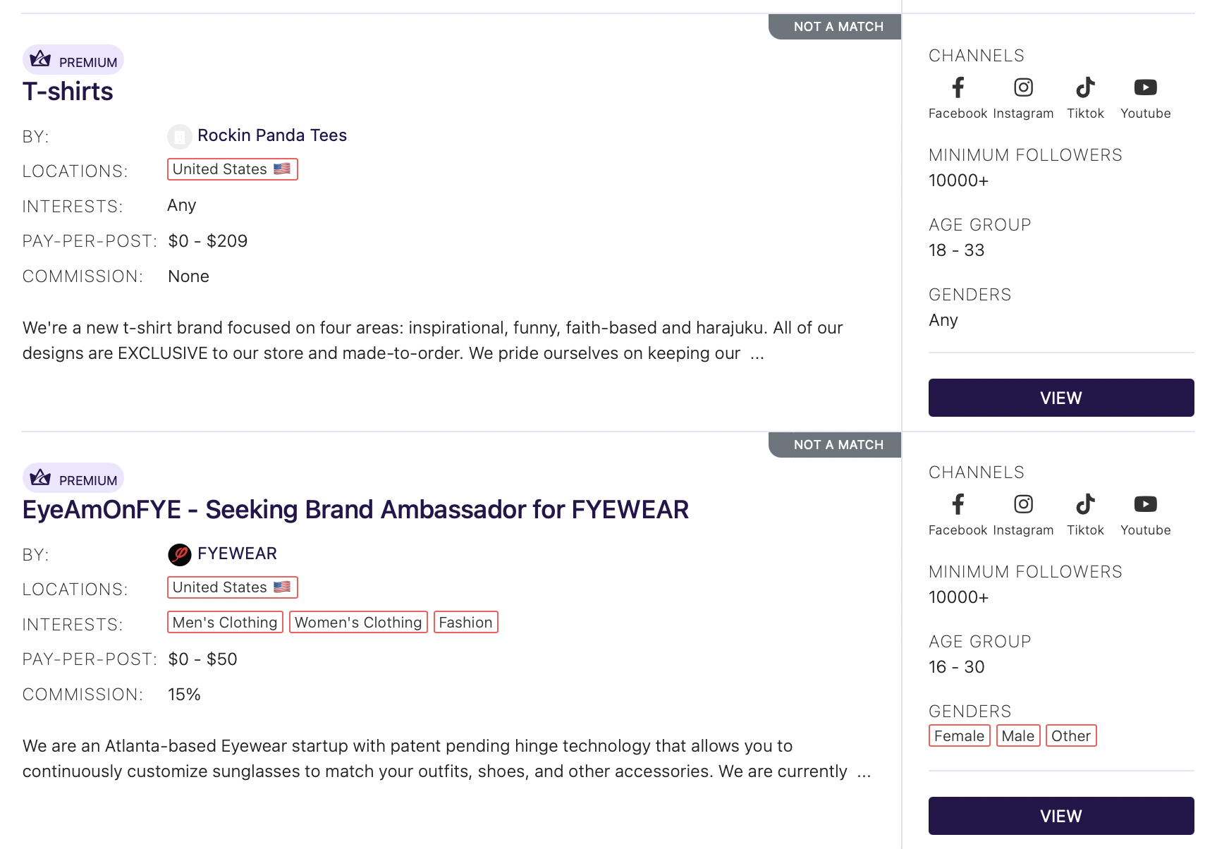 Highlights of brand collab opportunities featured on Afluencer   Booking Influencers