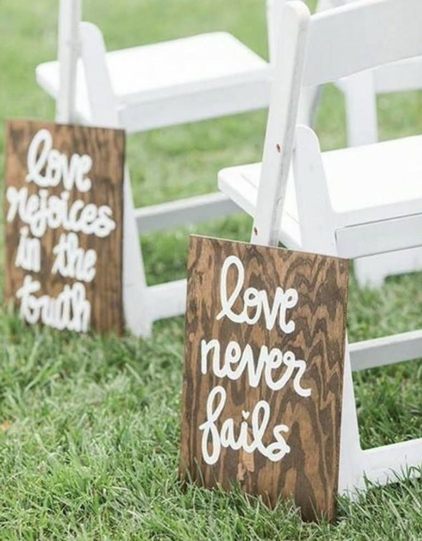 painted wedding aisle signs