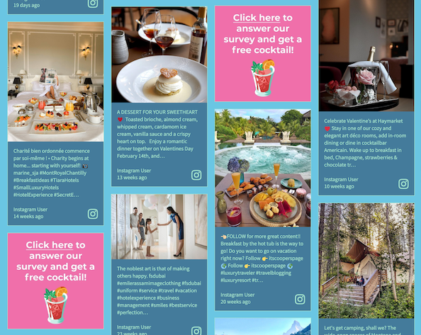 Screenshot of a hotel's social wall displaying two sponsored tiles linked to surveys, and other images of meals, and outdoor areas.