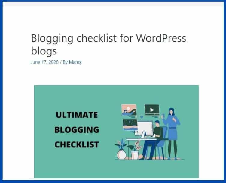 checklist webpage screenshot