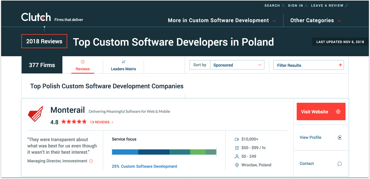 Monterail among software development company on Clutch