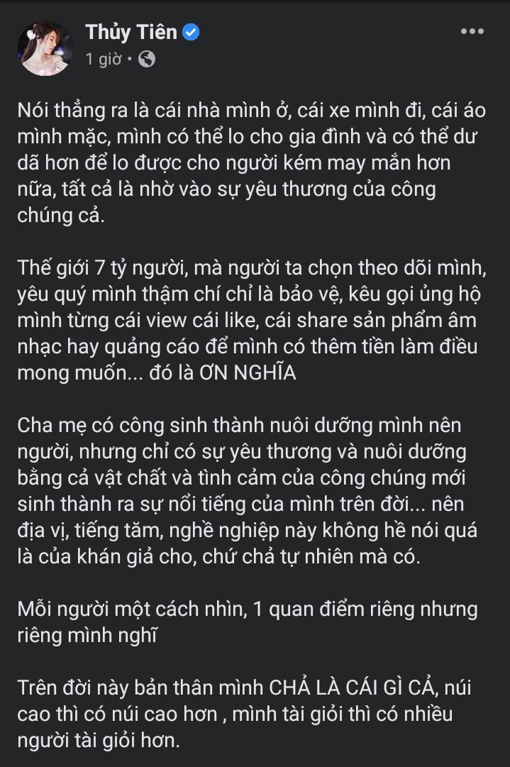 """Giữa tâm bão """"khán giả và nghệ sĩ – ai nuôi ai?"""" Thủy Tiên công khai tri ân người hâm mộ"""